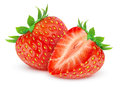 Strawberries two over white background Royalty Free Stock Photography