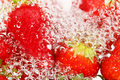 Strawberries and water in bubbly closeup Royalty Free Stock Image