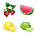 Strawberries, Watermelon, Lemon & Lime Stock Images