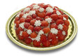 Strawberries and whipped cream on a golden tray Stock Images