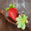 Strawberries on wooden spoon Royalty Free Stock Images