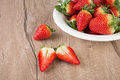 Strawberries on wooden table plate of text space Stock Photography