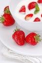 Strawberries and yogurt. Stock Photos