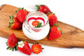 Strawberries yogurt jar with decorated with fresh Stock Photo