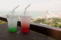 Strawberry ade and apple ade with soda is the perfect refreshing summer drink ice green to cool down on a warm day it s so quick Stock Image