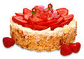Strawberry almond birthday cake with candles Stock Image
