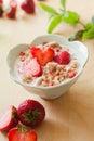 Strawberry banana muesli yoghurt in bowl macro photography of brakfast fresh healthy meal Stock Images