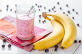 Strawberry and banana smoothie, glass jar Royalty Free Stock Photo