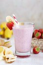 Strawberry banana smoothie made with fresh ingredients Royalty Free Stock Image