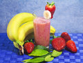 Strawberry and banana soft drink Royalty Free Stock Photo
