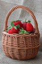 Strawberry in basket a wicker on fabric Stock Image