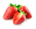 Strawberry. Berries with cut on white background. Royalty Free Stock Photo