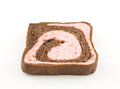 Strawberry blend chocolate bread on white background Stock Photography