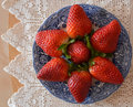 Strawberry on a blue plate. Royalty Free Stock Photo