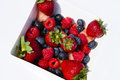 Strawberry,Blueberry,Raspberry,Watermelon in Square Bowl,White Background