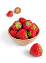 Strawberry in a bowl fresh brown Stock Images