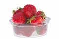 Strawberry box transparent plastic with isolated on white Royalty Free Stock Photo