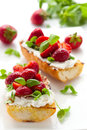 Strawberry bruschetta Stock Image