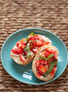Strawberry bruschetta appetizer Royalty Free Stock Photos