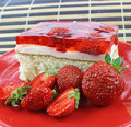 Strawberry cake closeup of homemade with jelly Royalty Free Stock Photography