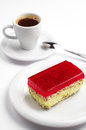 Strawberry cake and coffee tasty with poppy cup of Royalty Free Stock Photos