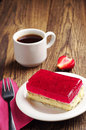 Strawberry cake and coffee tasty with poppy cup of Royalty Free Stock Images