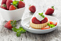 Strawberry cake with cream and mint Stock Images