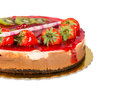Strawberry cake with jelly topping and figs isolated delicious withe chocolate Royalty Free Stock Photos
