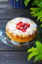 Strawberry cake on a wooden floor Royalty Free Stock Photo