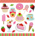 Strawberry candies digital collage Royalty Free Stock Photo