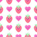 Strawberry cartoon seamless vector pattern Royalty Free Stock Photo