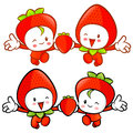 Strawberry character couples on running fruit character design series Stock Images