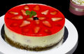 Strawberry cheese cake decorated with gello layer Royalty Free Stock Photos