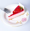 Strawberry cheesecake arrange on a plate Royalty Free Stock Image