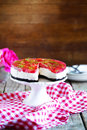 Strawberry cheesecake with butter cookies crust, topped with gelatine Royalty Free Stock Photo