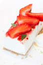 Strawberry cheesecake detailed picture of a and Royalty Free Stock Images