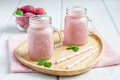 Strawberry cheesecake smoothie with cream cheese and milk Royalty Free Stock Photo