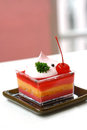 Strawberry cheesecake on white table Stock Photography
