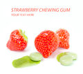 Strawberry chewing gum on white Stock Photography
