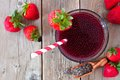 Strawberry chia seed drink, above view on rustic wood Royalty Free Stock Photo