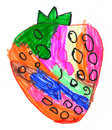 Strawberry. child's drawing on paper. Royalty Free Stock Images