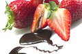 Strawberry and chocolate Stock Images