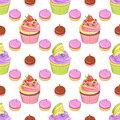 Strawberry chocolate and blueberry lemon cupcakes and meringues vector seamless pattern. Royalty Free Stock Photo