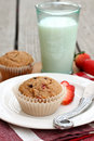 Strawberry Chocolate Chip Muffin Royalty Free Stock Images