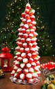 Strawberry christmas tree made of strawberries dipped in white chocolate Stock Images