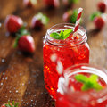 Strawberry cocktail old fashioned jars with vivid red Royalty Free Stock Photo