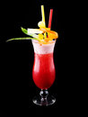 Strawberry cocktail with pineapple isolated on black Royalty Free Stock Images