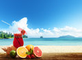 strawberry cocktail and tropical fruit Royalty Free Stock Photo