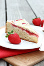 Strawberry coffee cake with cream cheese topping Royalty Free Stock Images