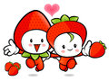 Strawberry couple characters to promote fruit selling fruit cha character design series Royalty Free Stock Photos